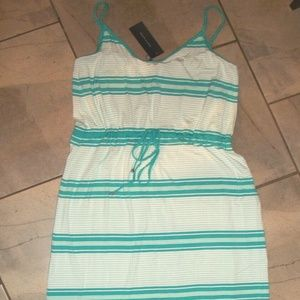 Tommy Hilfiger Turquoise Blue Striped Maxi Dress L
